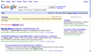 Digweb [sic] and Perlico AdWords listings