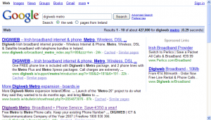 Screenshot of a Google search for a Digiweb Metro