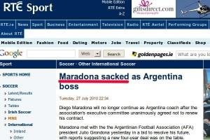 RTE.ie Maradona headline